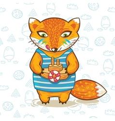 Print of a cartoon fox with vector