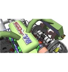 V8 engine colour of a car engine vector
