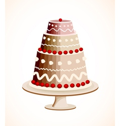Chocolate cake with berry vector