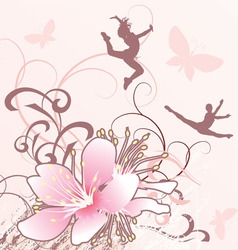 Pink flowers girls converted vector