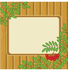Background with rowanberry and table vector