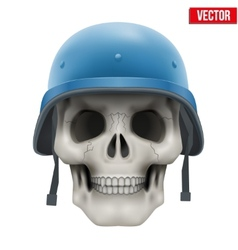 Human skull with military united nations helmet vector
