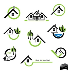 Set of houses icons for real estate business vector