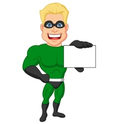 Superhero cartoon holding name card vector