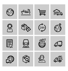 Black logistic and shipping icon set vector