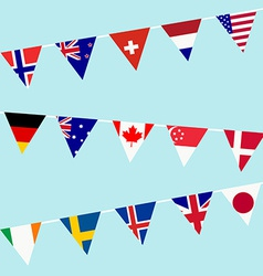 Bunting with flags of the most developed countries vector
