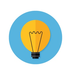 Idea lamp flat circle icon vector
