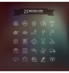 Think line building icons vector
