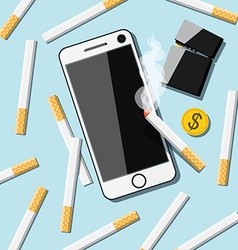 Cigarettes with phone lighter and coin on table vector