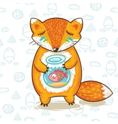 Print of cartoon fox with a little fish in vector