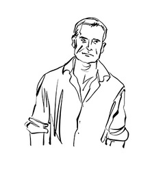 Hand drawn of a man black and white drawing vector