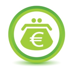Green euro purse icon vector