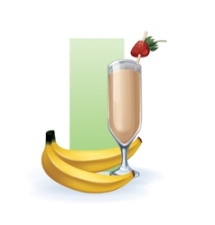 Banana in goblet of juice cocktail smoothie vector