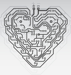 Circuit board pattern in the shape of the heart vector