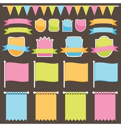 Ribbons plaques and flags vector