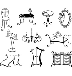 A set of furniture vector