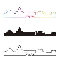 Naples skyline linear style with rainbow vector