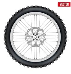 Motorbike enduro wheel with brake rotor and tire vector