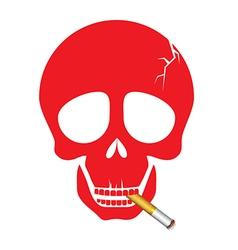 A human skull smoking a cigarette vector