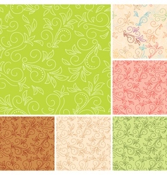 Seamless color patterns with flora vector