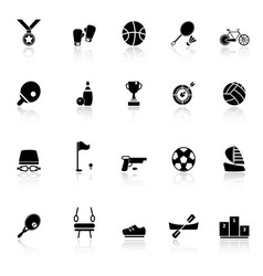 Sport game athletic icons with reflect on white vector