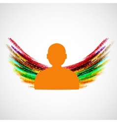 Silhouette of man with colored wings eps10 vector