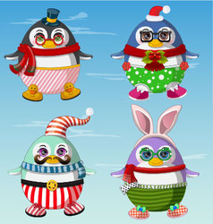 Set of cute penguins winter clothes vector