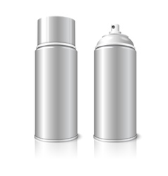 Two realistic blank aerosol spray metal 3d vector