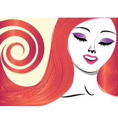 Girl with red hair and closed eyes vector