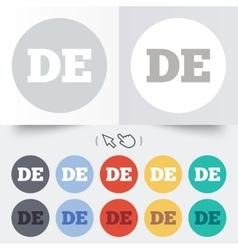 German language sign icon de deutschland vector