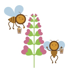 Happy bees at work vector