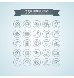 Round think line building icons vector
