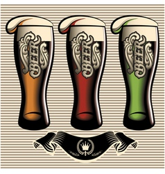 Set of different kinds glasses of beer vector