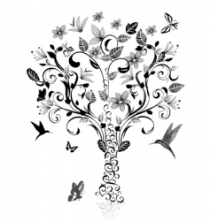 Vintage tree vector
