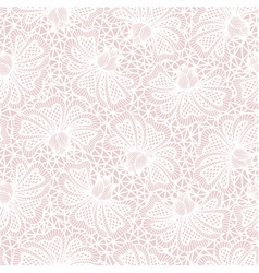 White seamless flower lace pattern on pink backgro vector