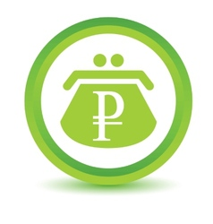 Green rouble purse icon vector