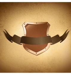 Shield over grunge background vector
