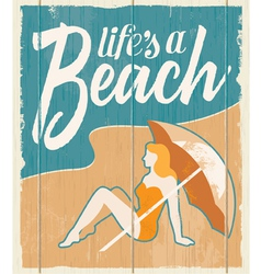 Vintage retro beach poster - wooden sign vector