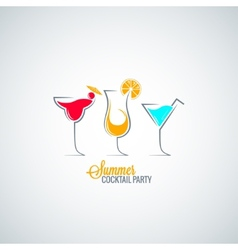 Cocktail summer party menu background vector