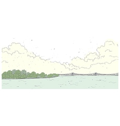 Bridge coastline background vector