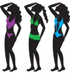 Swim suit silhouettes vector