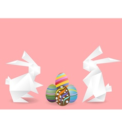 Paper rabbits with easter eggs vector