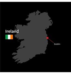 Detailed map of ireland and capital city dublin vector