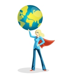 Business woman holding world globe vector