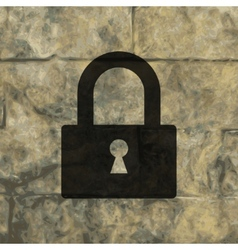 Padlock flat modern web button and space for your vector