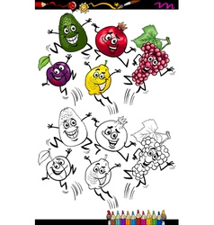 Funny fruits cartoon coloring page vector