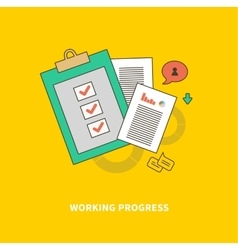 Stage of business process is working progress vector
