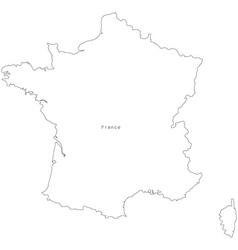 Black white france outline map vector