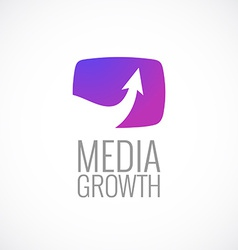 Tv screen with arrow media logo template growth vector