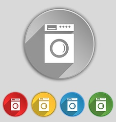 Washing machine icon sign symbol on five flat vector